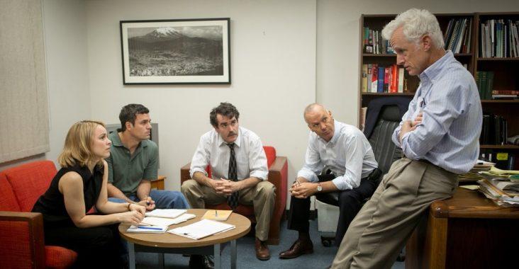 Rachel McAdams, Mark Ruffalo, Brian Darcy James, Michael Keaton, and John Slattery in Spotlight