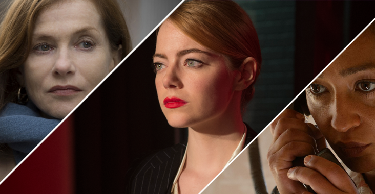 Best Actress Nominees Isabelle Huppert, Emma Stone, and Ruth Negga