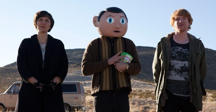 Maggie Gyllenhaal, Michael Fassbender, and Domhnall Gleeson in Frank