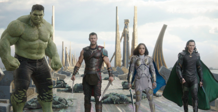 Chris Hemsworth, Mark Ruffalo, Tessa Thompson, and Tom Hiddleston in Thor: Ragnarok